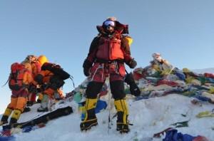 Vanessa O'Brien on the summit of Mount Everest.