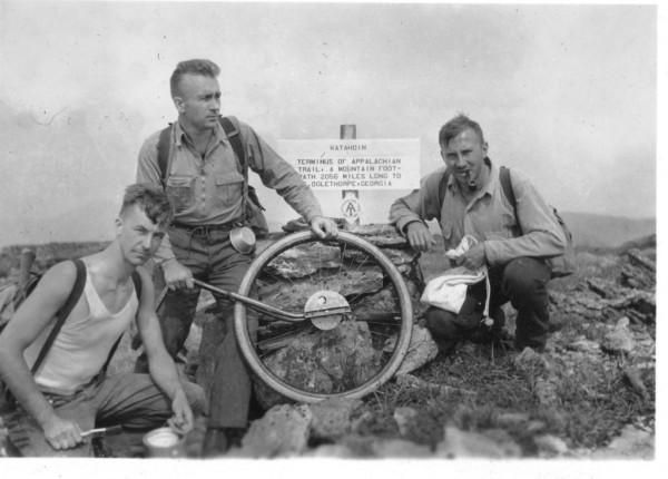 Trailblazers Albert H. Jackman, Myron H. Avery and J. Frank Schairer on Katahdin's summit, August 19, 1933