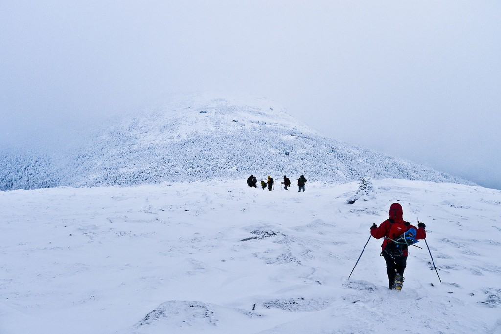 Hikers descending to the col between Algonquin and Iroquois Peaks in the Adirondacks. (Jeffrey Pang/Wikimedia Photo)