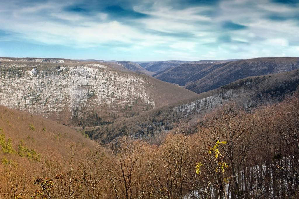 A view of the Naval Run drainage area and the winding corridor of Pine Creek Gorge seen from the Black Forest Trail.