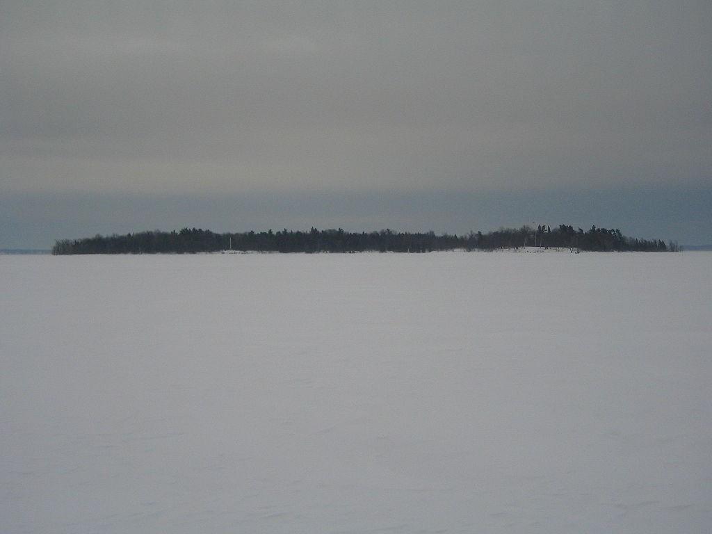 Champlain - Crab Island on Frozen Lake Champlain