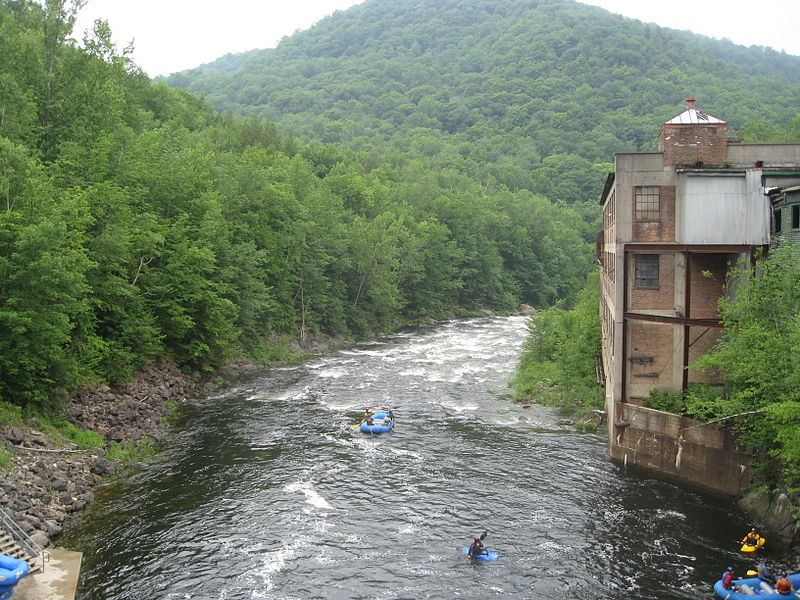 Rafters and kayakers navigate the Deerfield River in Massachusetts. (Wikimedia Photo)