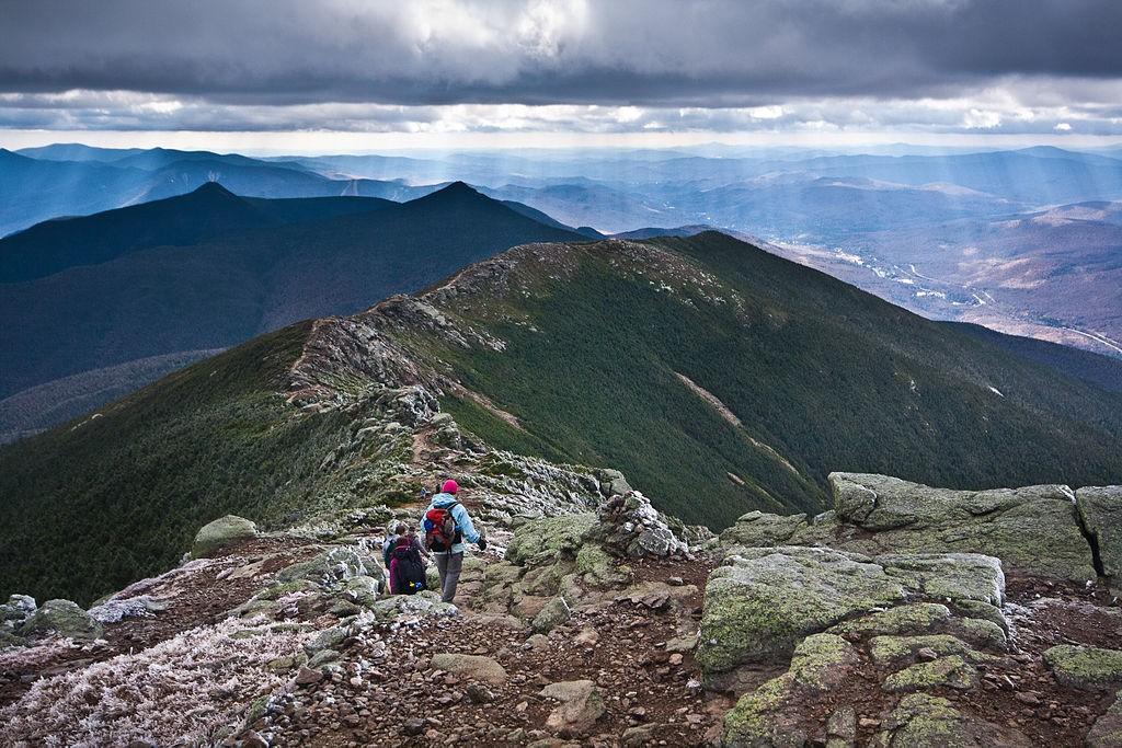 Hikers on New Hampshire's Franconia Ridge. (Wikimedia Photo)