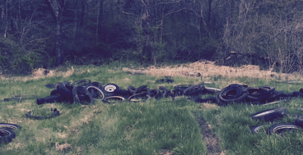 A pile of tires and wheels illegally dumped along the Appalachian Trail. (Middlesex Township Police Photo)