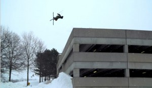 VIDEO: Ski-jumping off a Boston parking garage