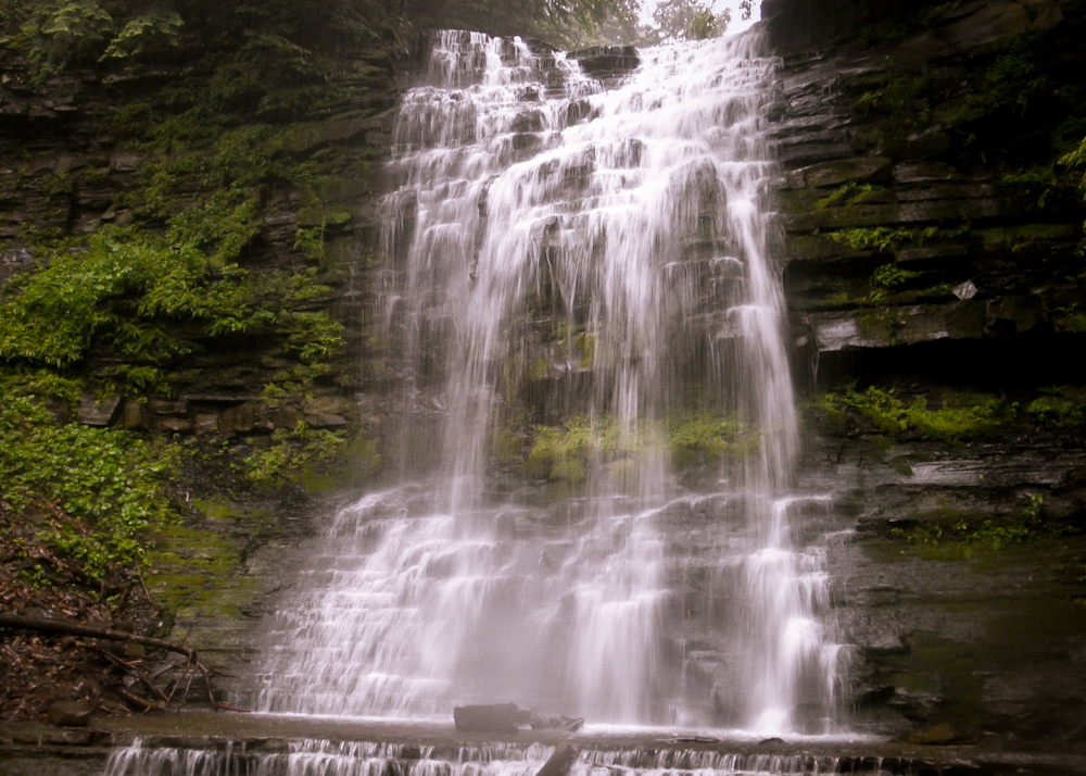 The second of three waterfalls at New York's Plotter Kill Preserve, reportedly where the accident took place. (Wikimedia Photo)
