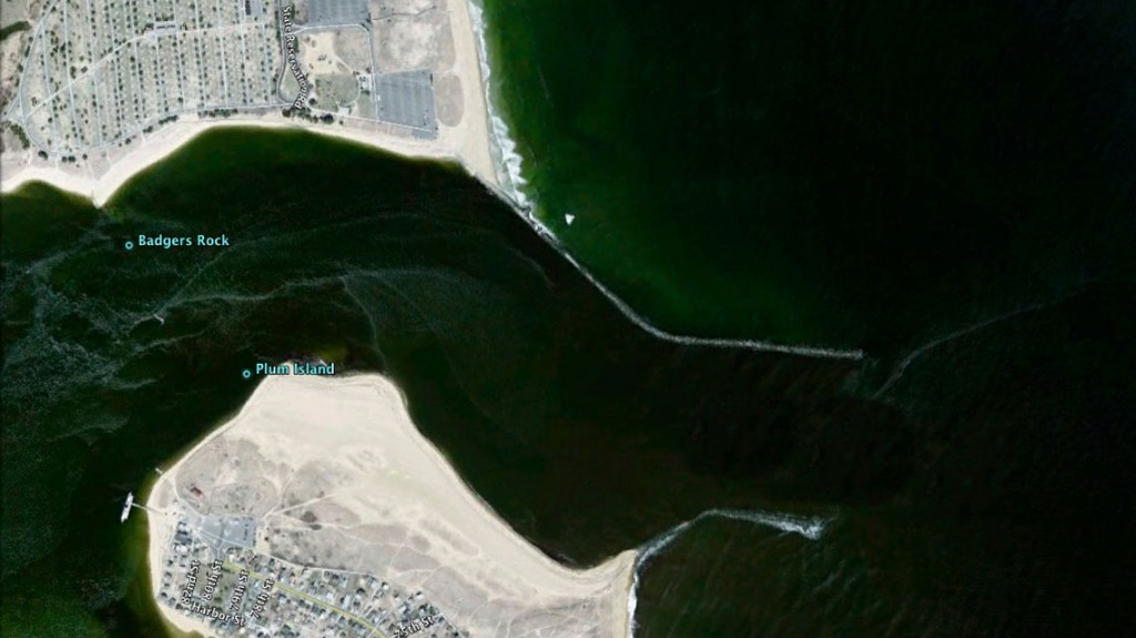 A satellite view of the mouth of the Merrimack River.