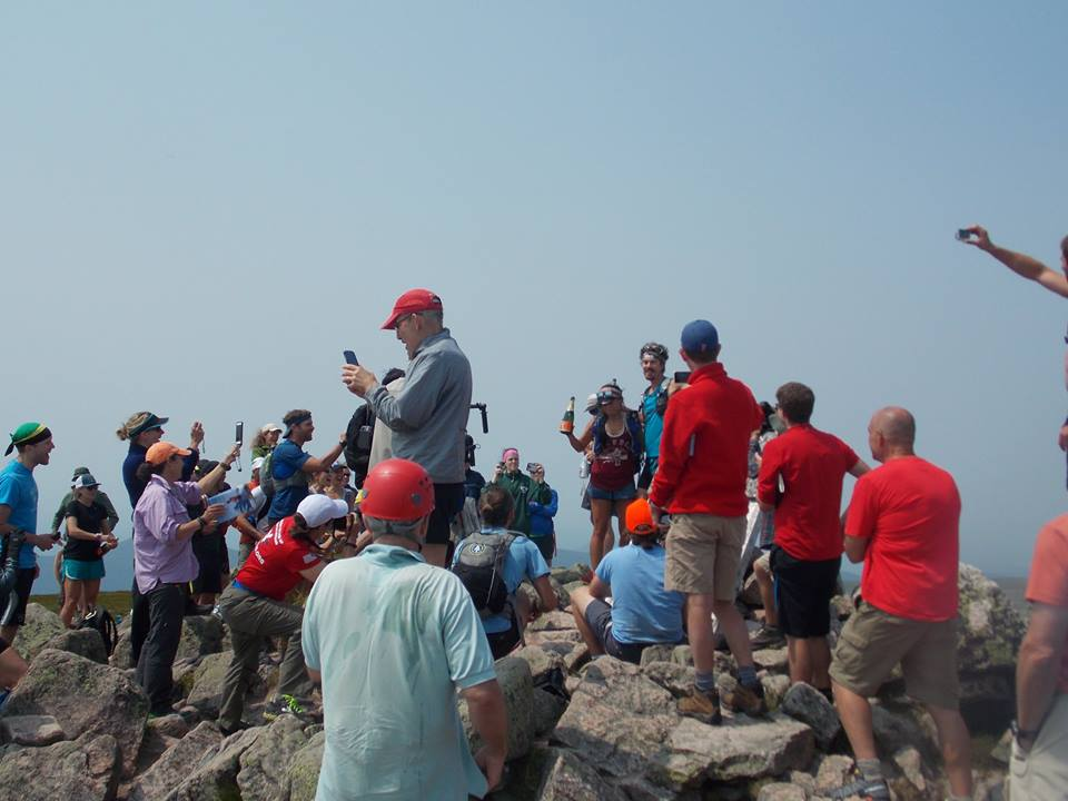 The crowd atop Katahdin as Scott Jurek celebrates his record-setting Appalachian Trail thru-hike. (Baxter State Park Authority Facebook Photo)