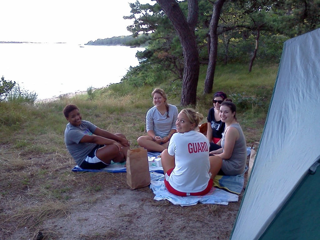 Campers enjoy Washburn Island in East Falmouth. (Waquoit Bay National Estuarine Reserve Photo)