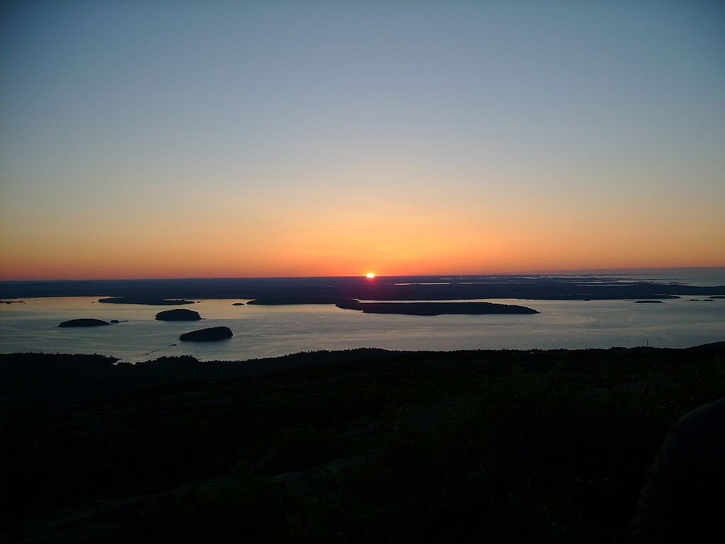 The sunrise seen from atop Cadillac Mountain. (Wikimedia Photo)