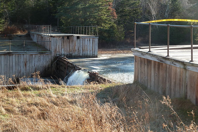 Marcy Dam after it was partially washed away by Tropical Storm Irene in 2011. (Wikimedia Photo)