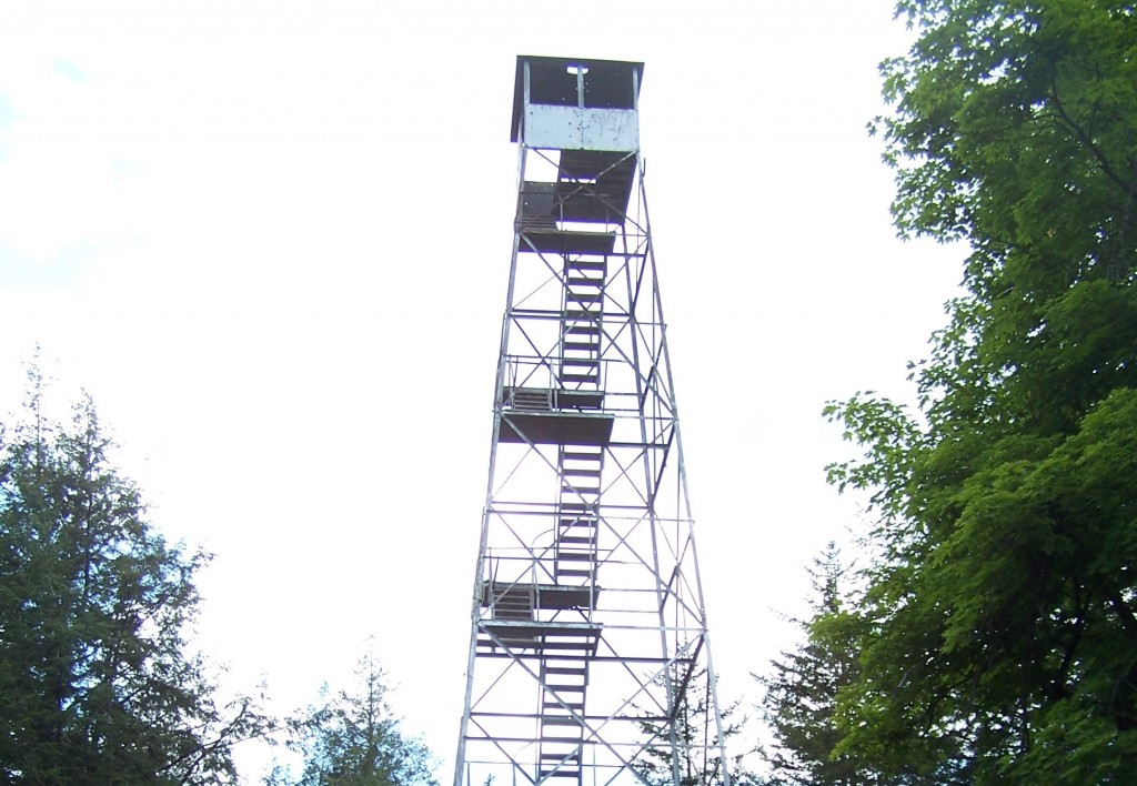 New York's Spruce Mountain Fire Tower before it was refurbished.