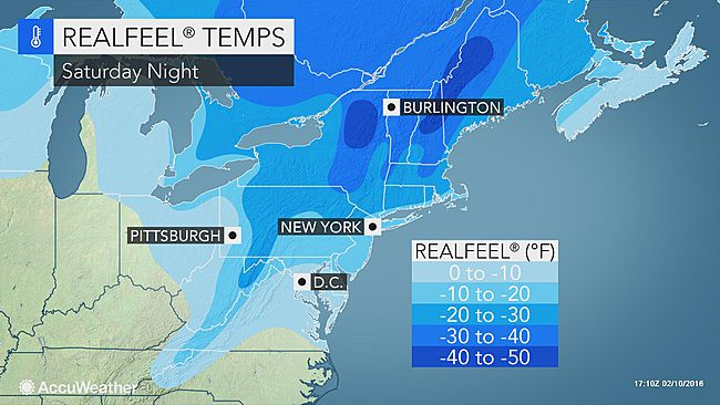 A dangerous cold front hits the Northeast. (Accuweather.com Photo)