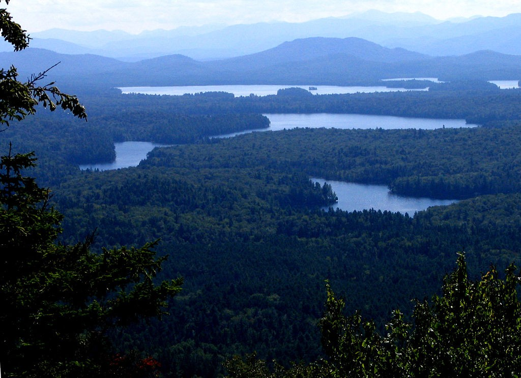 A view of the St. Regis Canoe Area from Long Pond Mountain.