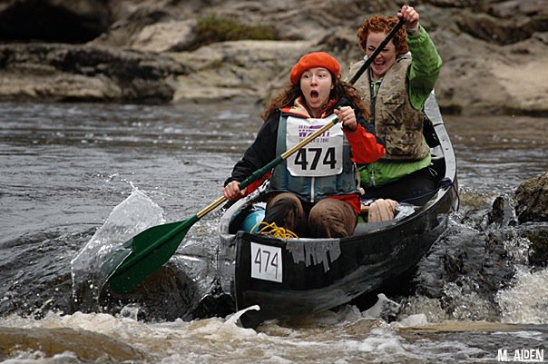 Paddlers negotiate icy water in Maine's Kenduskeag Stream Canoe Race. (Kenduskeag Stream Canoe Race Facebook Photo)