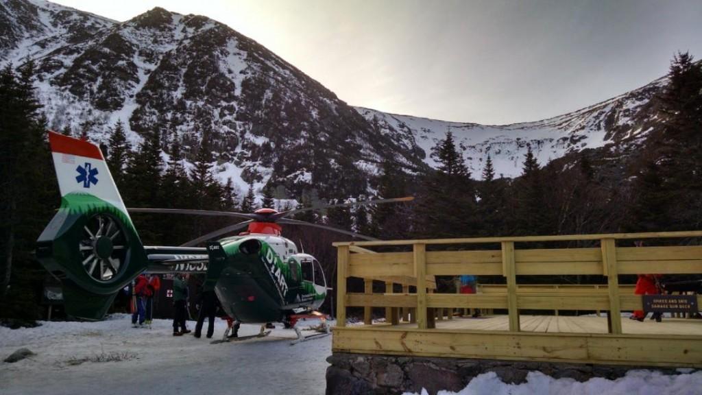 A rescue helicopter lands on Mount Washington. (Sam Bendroth/Mount Washington Avalanche Center Photo)