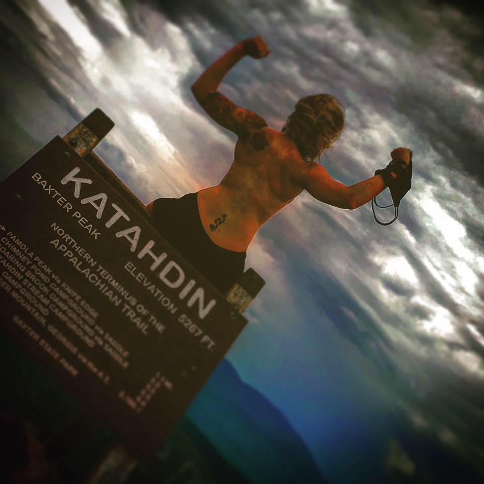 Hiker Kaiha Bertollini atop Katahdin on August 4. (Facebook/Hikeforourlives Photo)