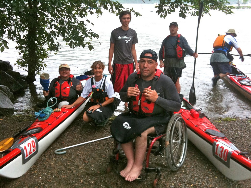 Participants in the Achilles International Kayak Program at the 2010 Bear Mountain Race. (Achilles International Photo)