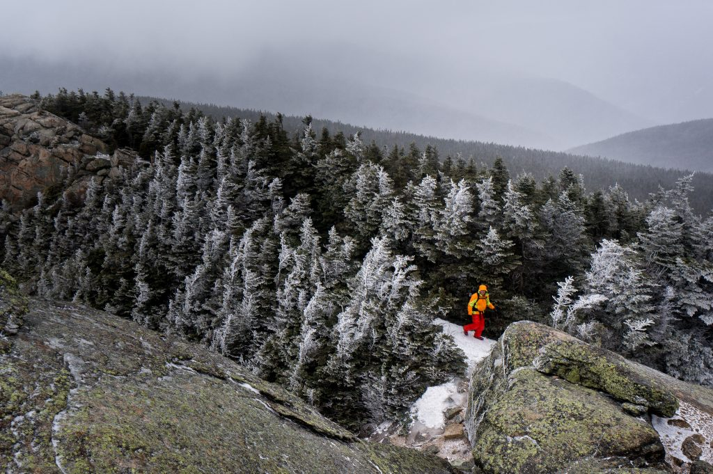 A hiker on Mount Liberty in New Hampshire's White Mountains. (Robbie Shade/Flickr Photo)