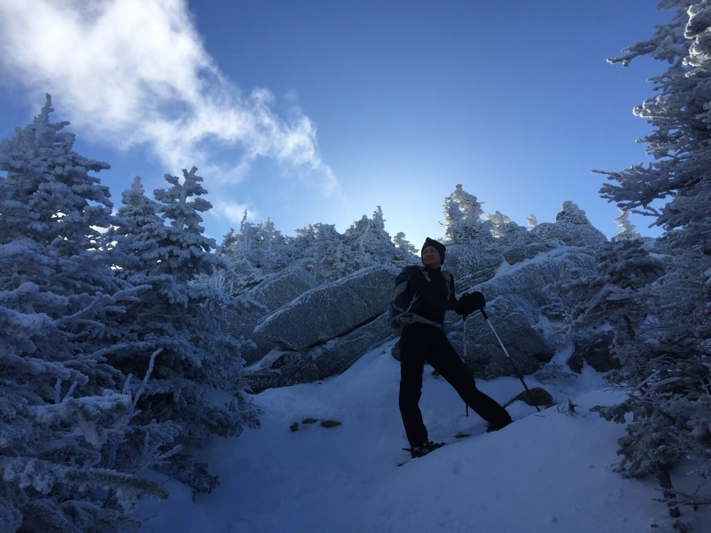 Sue Johnston hiking in New Hampshire's White Mountains in December 2016. (RunSueRun Photo)