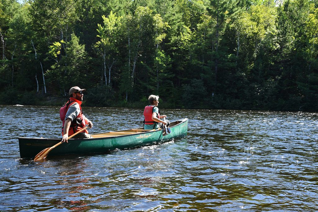 Paddlers explore the Katahdin Woods and Waters National Monument area by canoe. (U.S. Department of the Interior Photo)